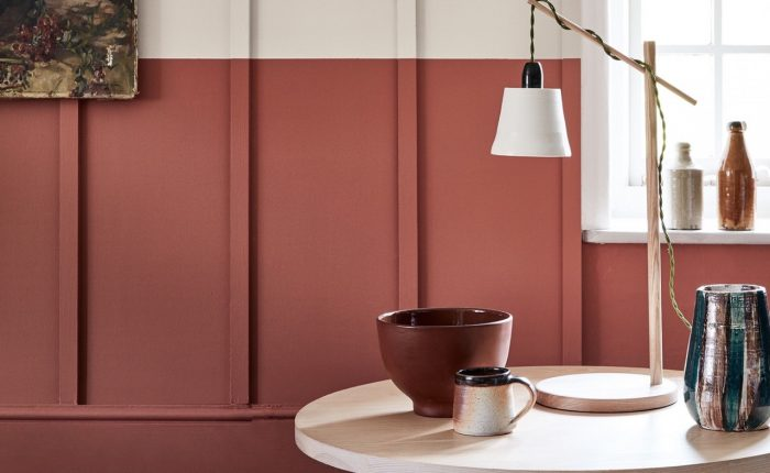 Little Greene Red painted wall panels