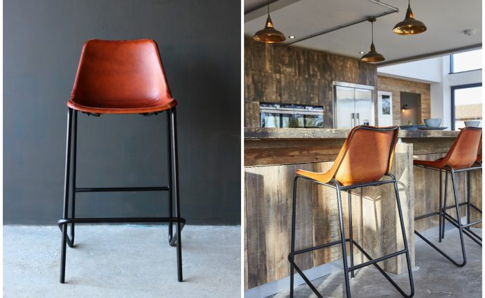 Light leather bar stool with black metal legs