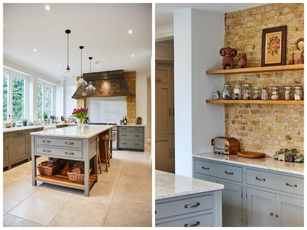 Bespoke kitchen cabinets next to yellow London brick wall