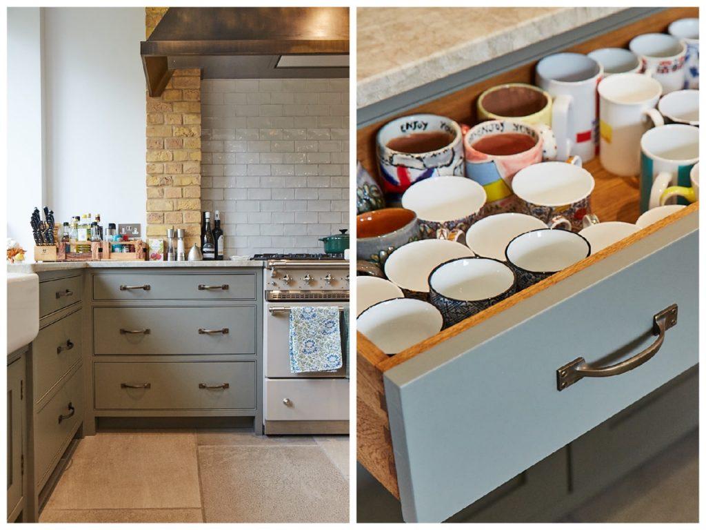 Bespoke kitchen drawer holding mugs with brass pull handles
