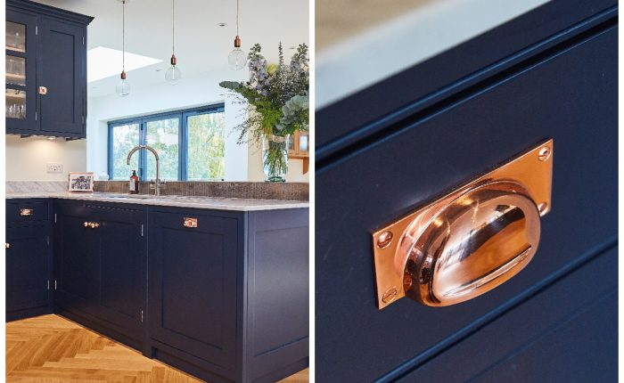 Dark blue kitchen drawer with copper cup handle