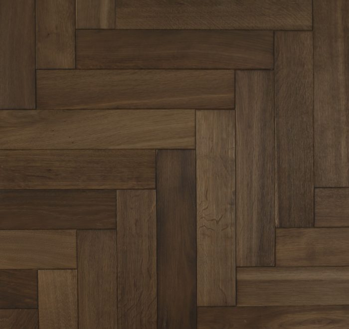 Brown oak parquet flooring