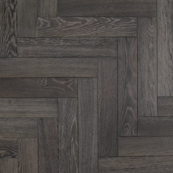 Parquet wood flooring in a black grey finish