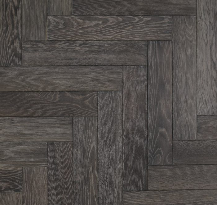 Parquet wood flooring in a black grey finish
