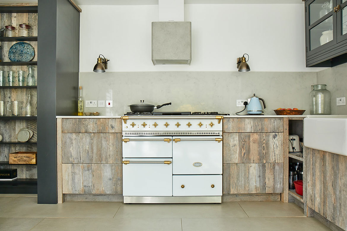 White Macon Lacanche range cooker with brass detail