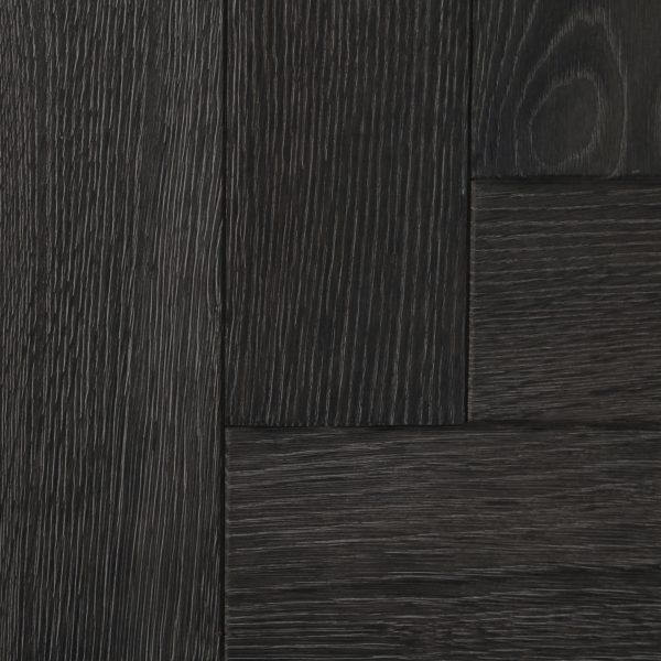 Dark black parquet flooring