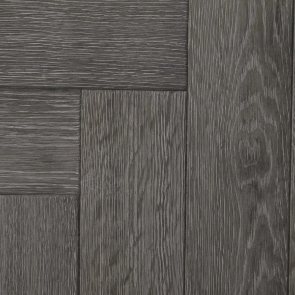 Light grey parquet wood flooring