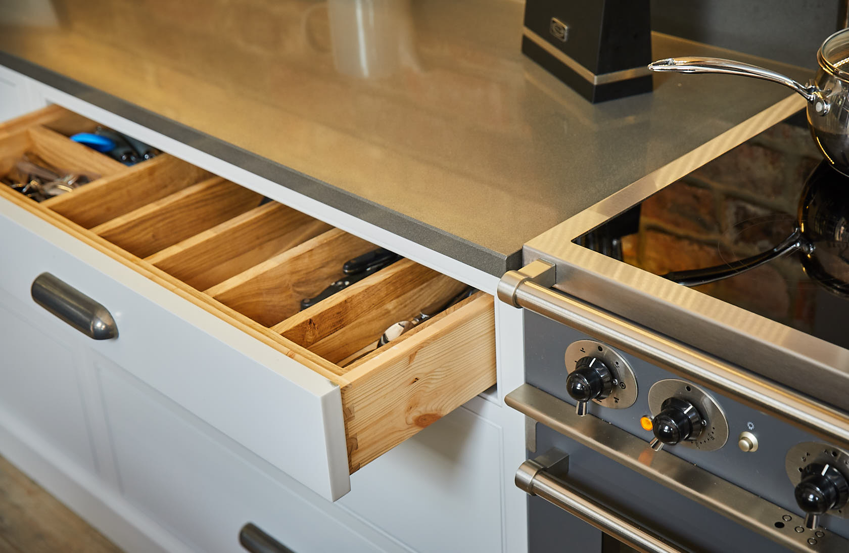 Bespoke kitchen drawer with dovetail box made from solid pine