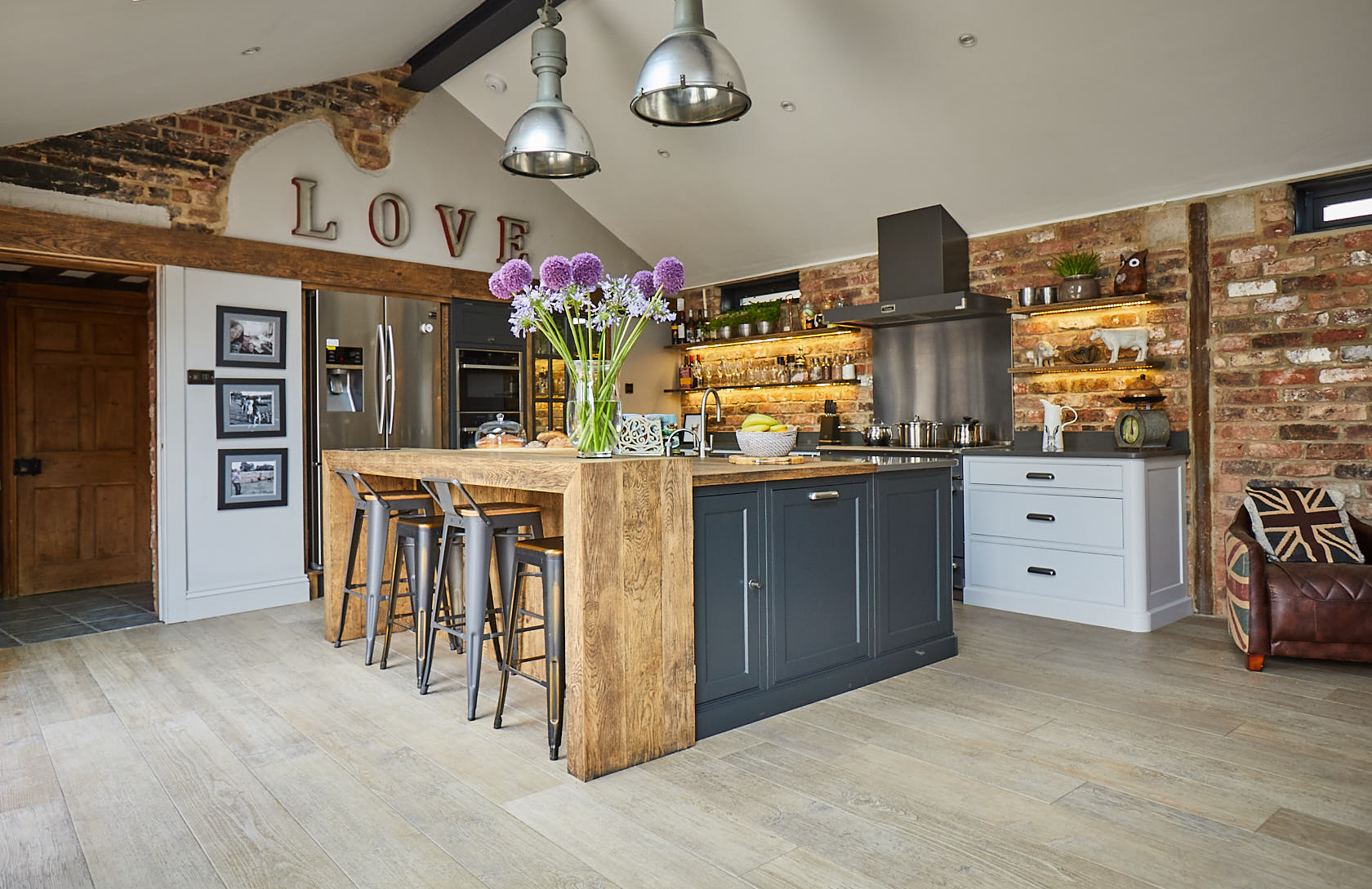 Vaulted room with bespoke industrial kitchen