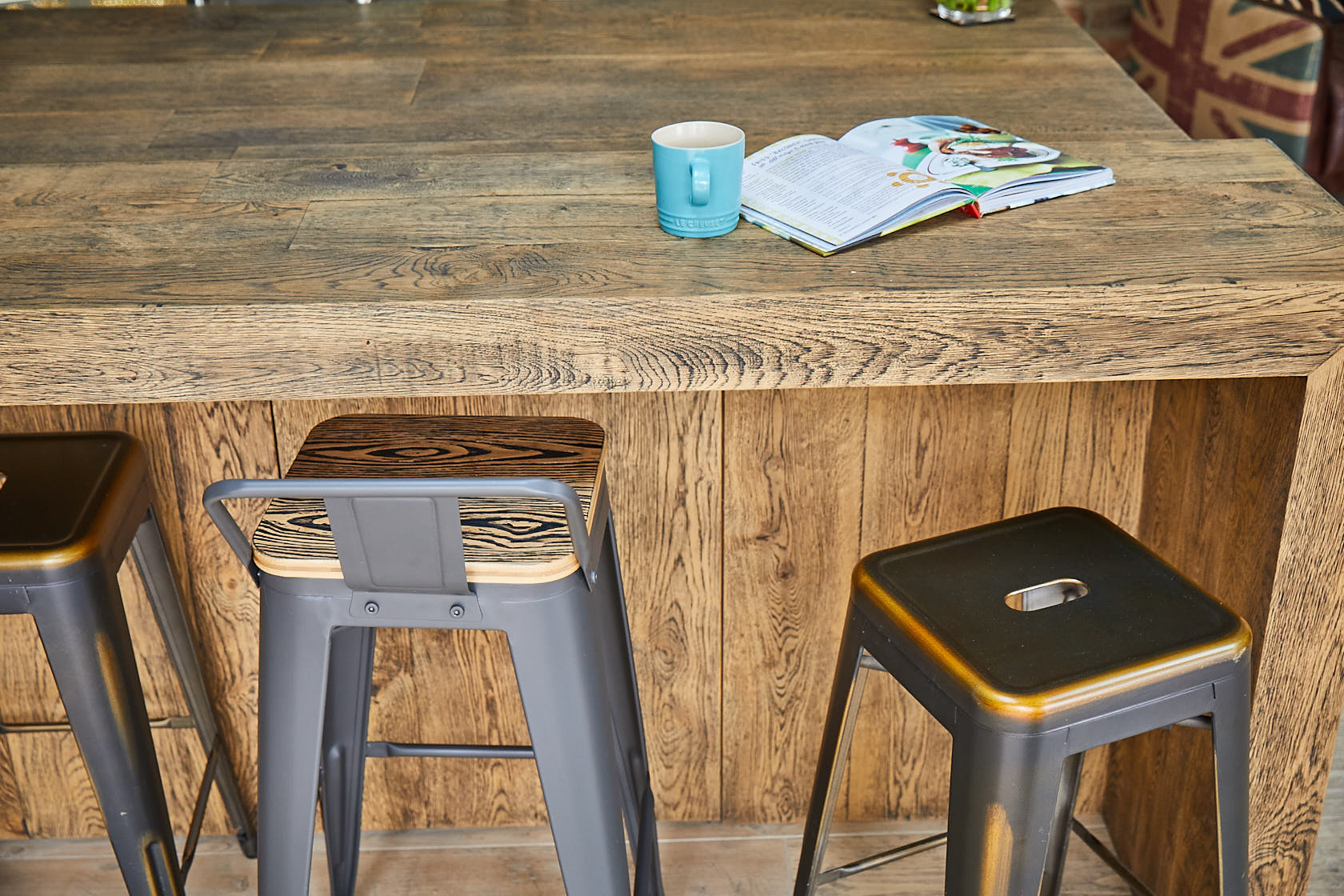 Rustic industrial metal bar stools