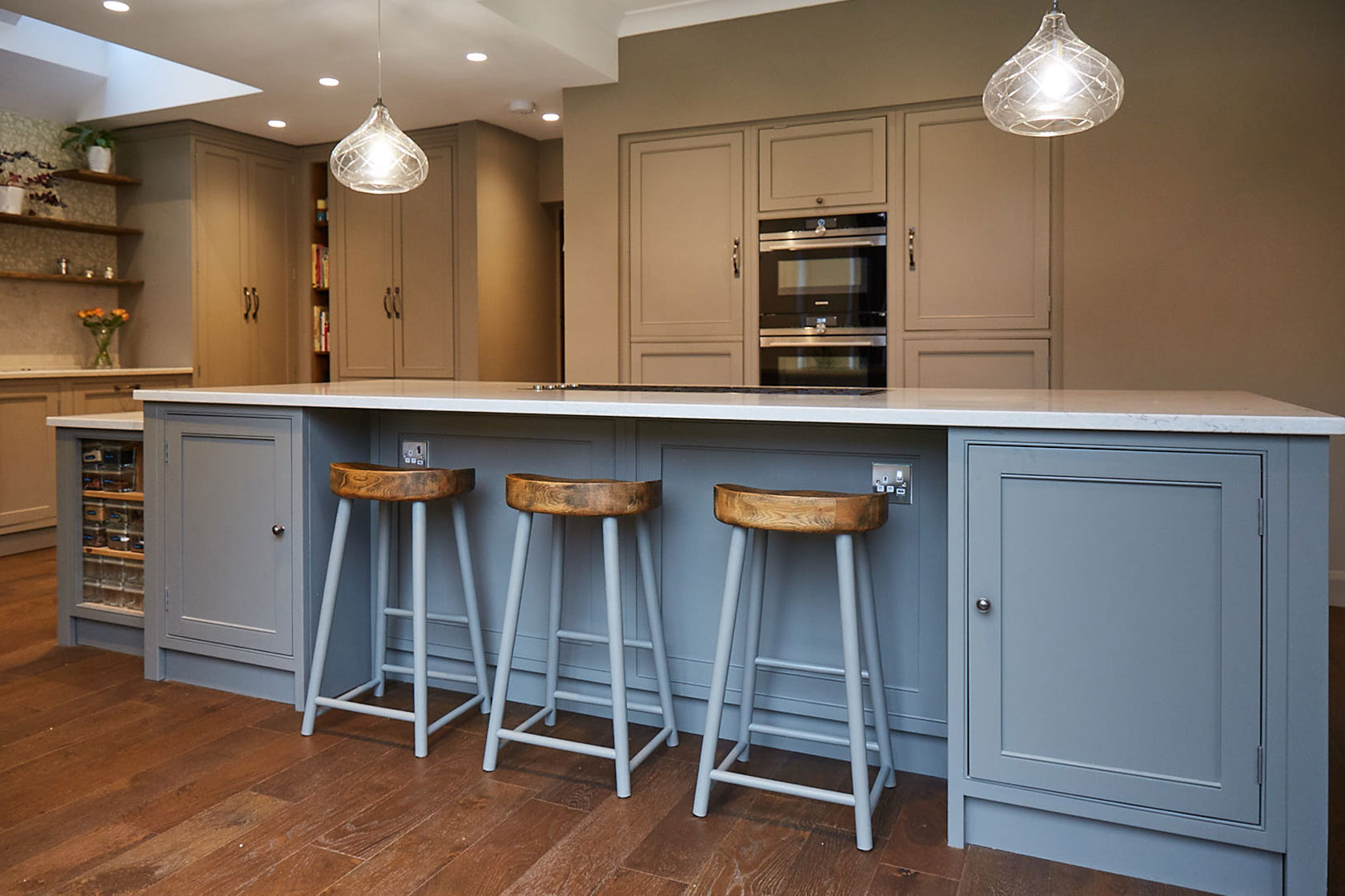 Chunky farmhouse stools with oak seat and painted legs