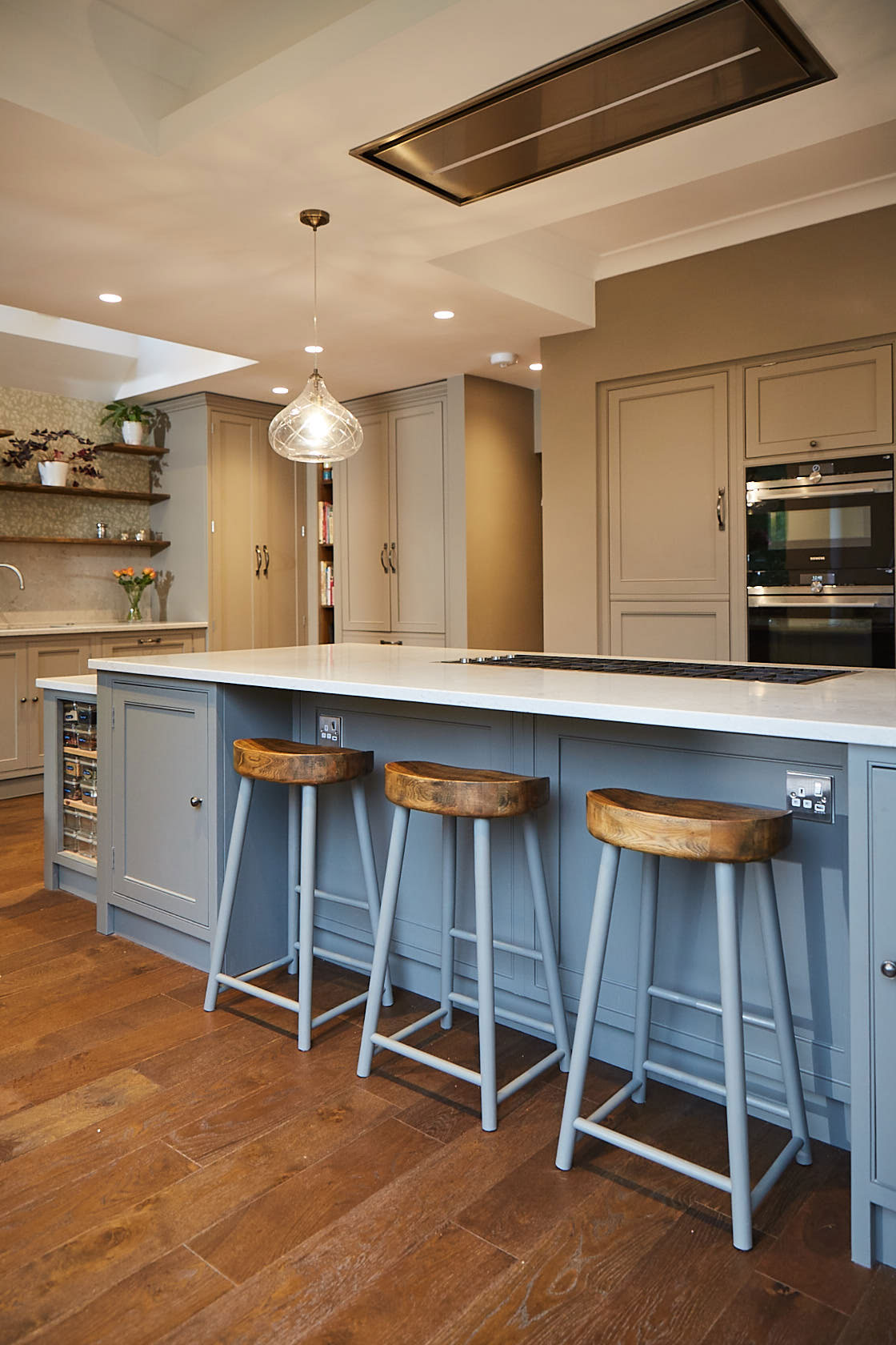 Painted breakfast bar stools with oak seat