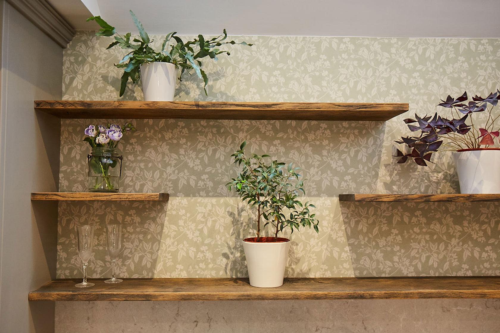 Plants sat on floating oak wood shelves with green floral back drop