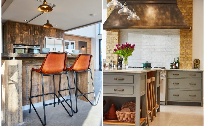Leather bar stools with powder coated black legs next to grey moss painted kitchen island
