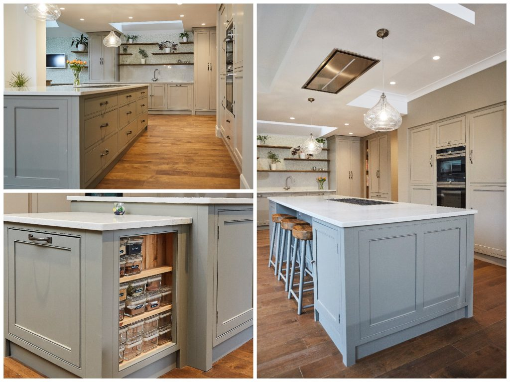 Simple painted kitchen island with oak floor