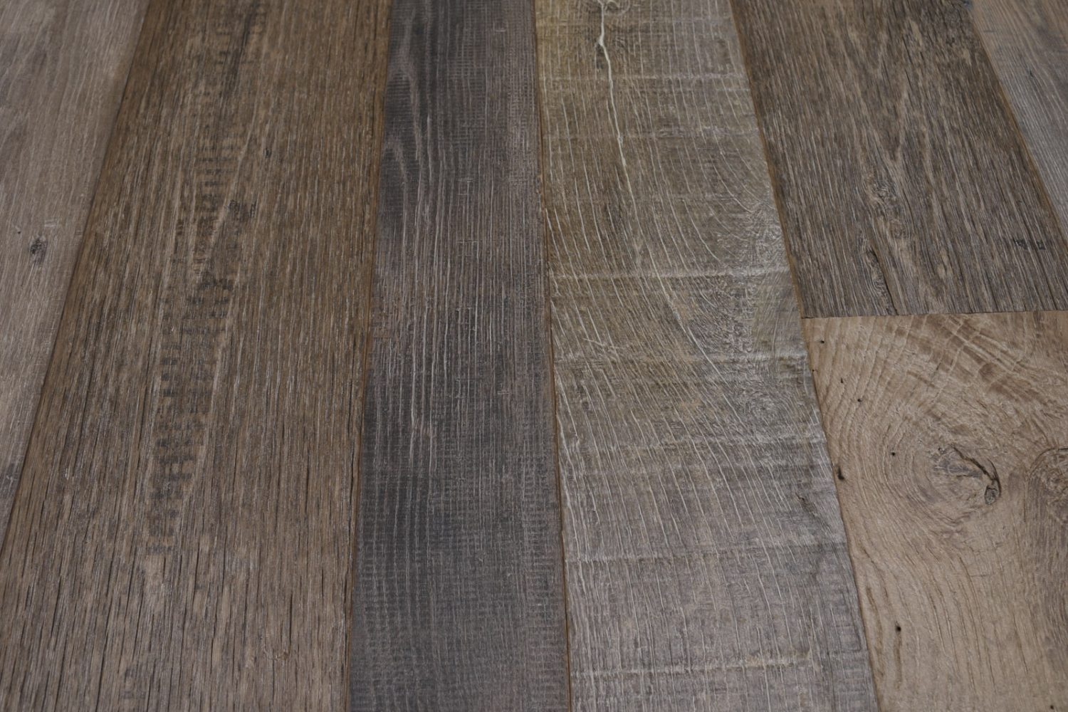 Close up of reclaimed barn oak flooring