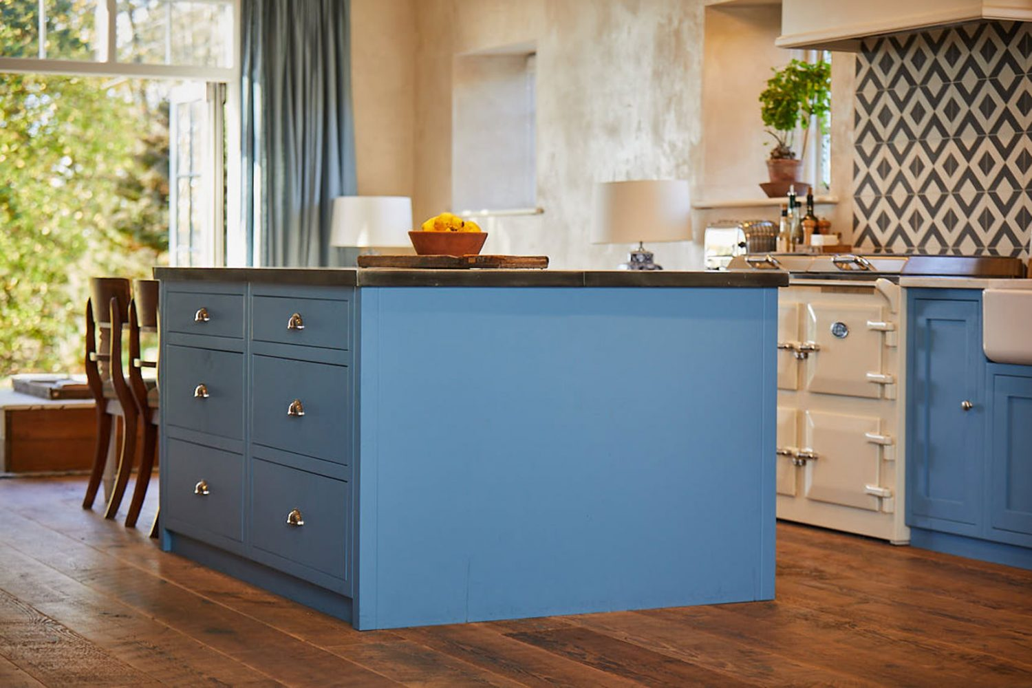Two pan drawers in bespoke kitchen island with zinc worktop