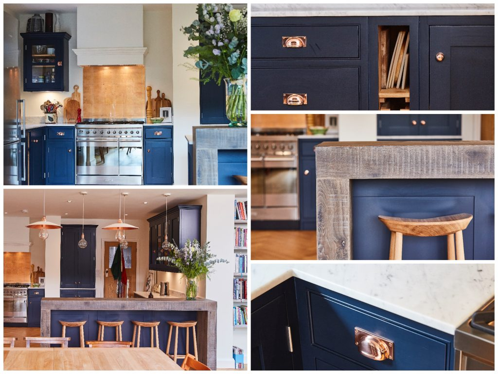 Dark blue bespoke kitchen with copper and oak accents
