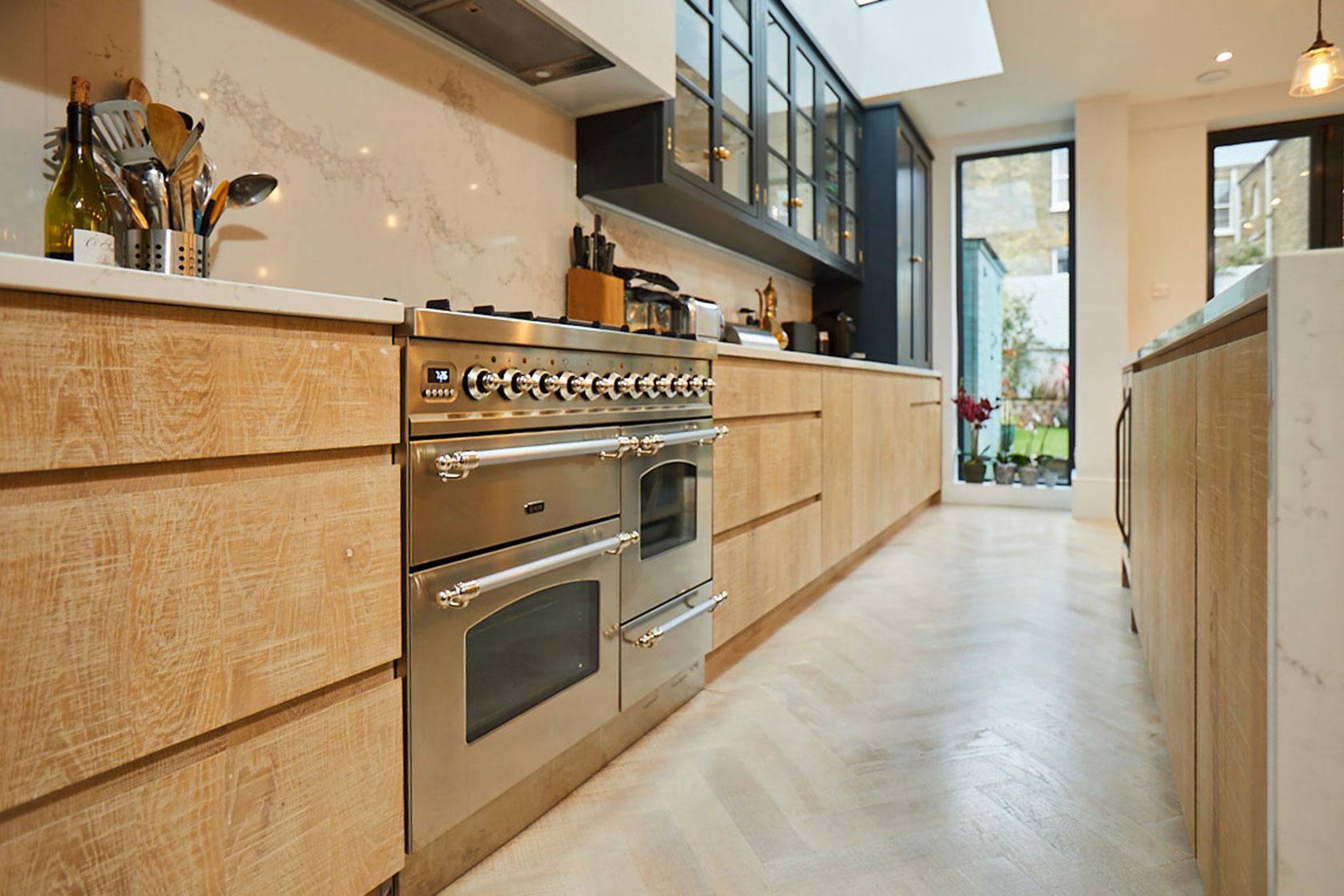 Bespoke limed oak engineered pan drawers