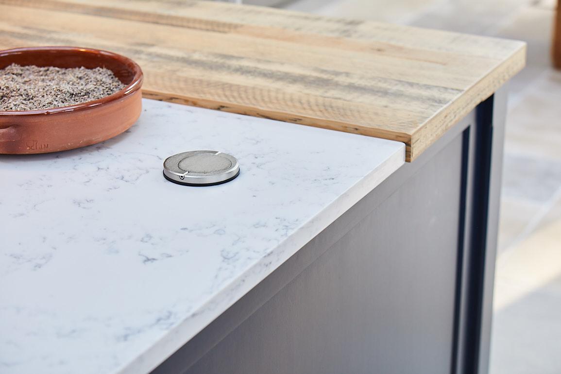 Hafele pop up plug in kitchen island white worktop