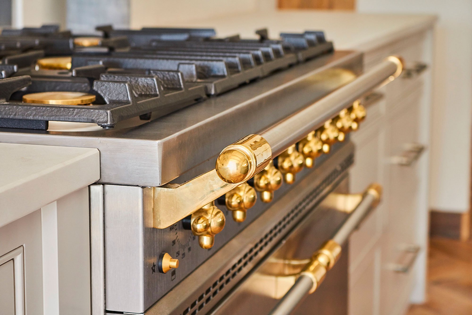 Stainless steel Lacanche gas range cooker with brass detail