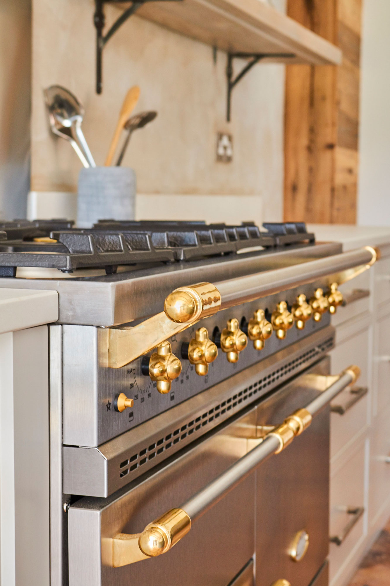 Brushed stainless steel Lacanche Macon gas range cooker with brass trim