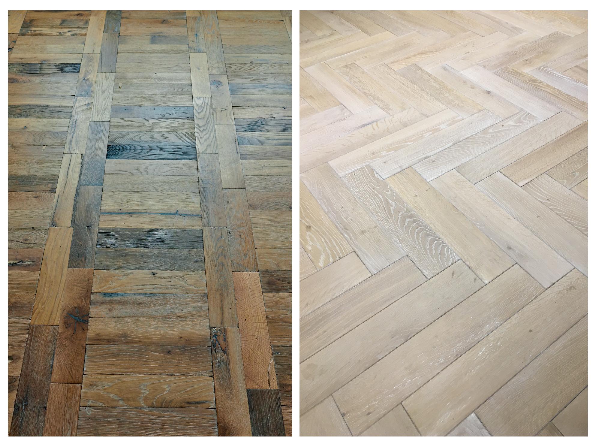 Parquet oak flooring laid in various patterns