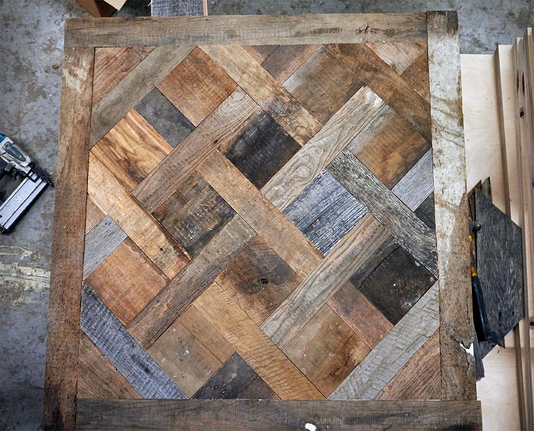 Versailles parquet panel in our workshop