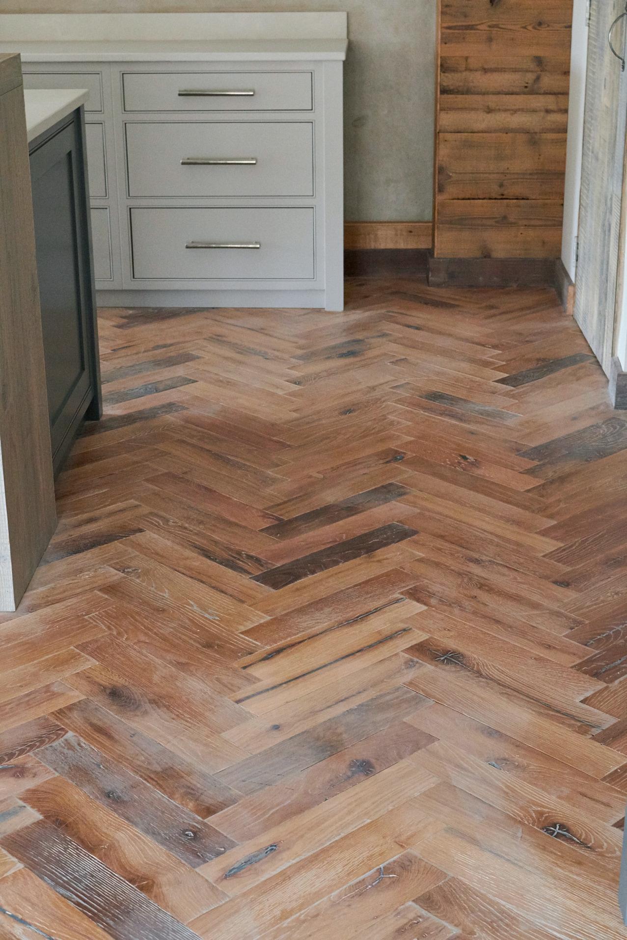 Herringbone oak engineered wood floor