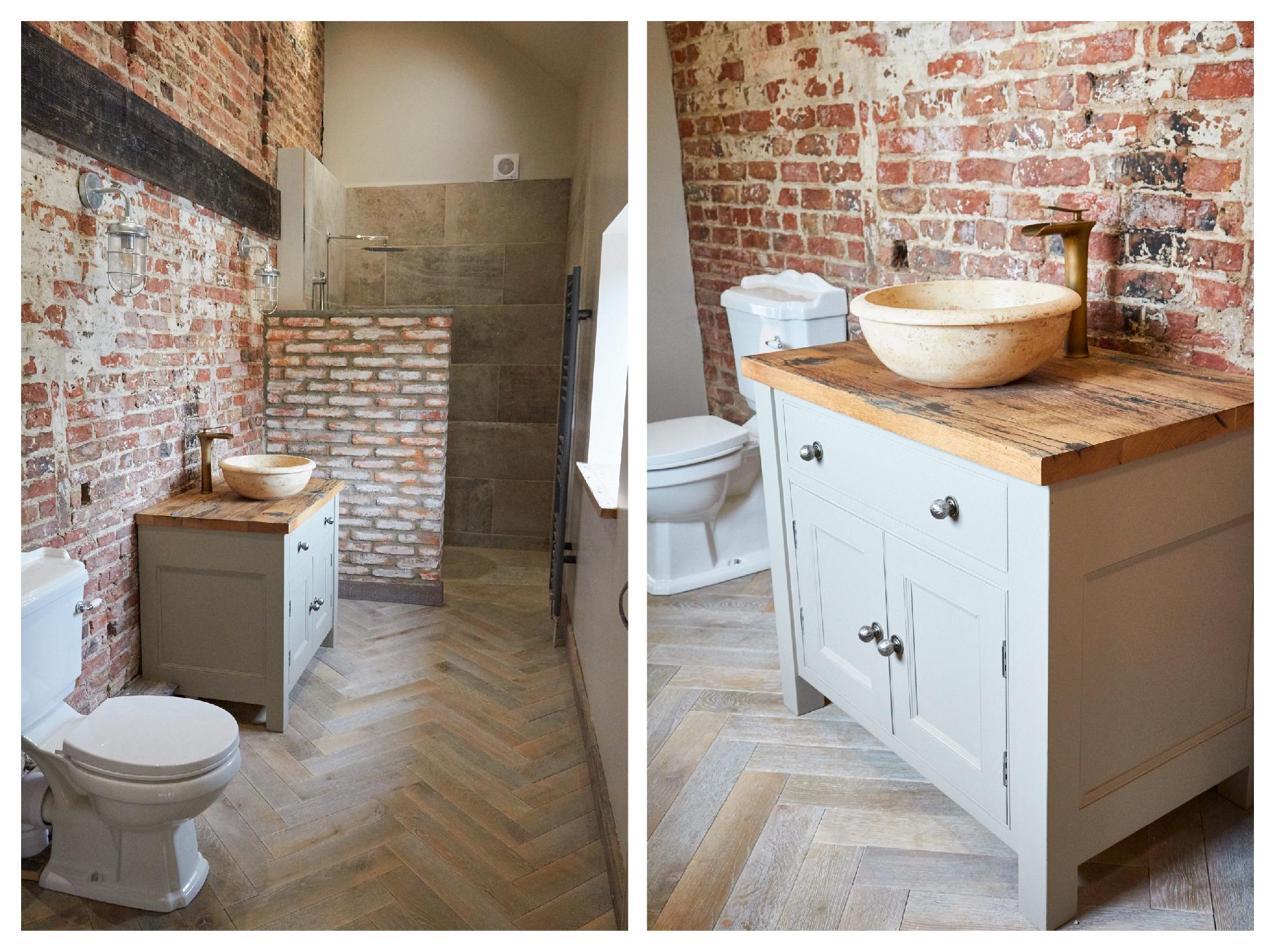 Painted vanity unit on parquet herringbone oak floor
