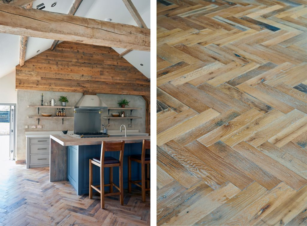 The Main Company's Herringbone flooring in the Nun Monkton kitchen . A close up image of the flooring accompanied by a photo of the whole kitchen.