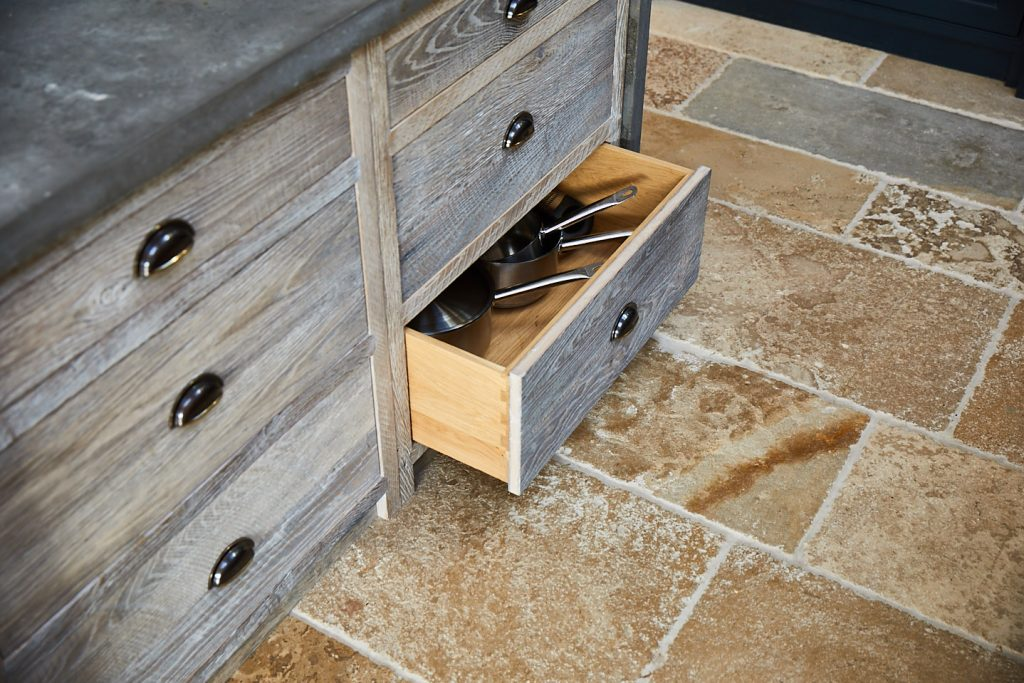 Solid oak pan drawer with pans in
