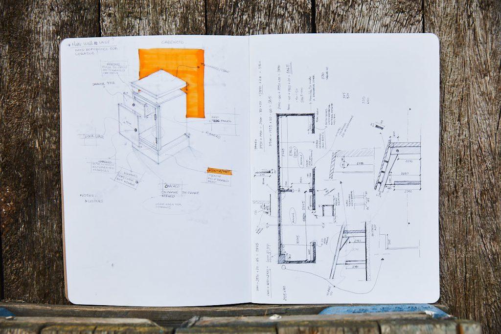 Hand drawn kitchen sketches in notebook