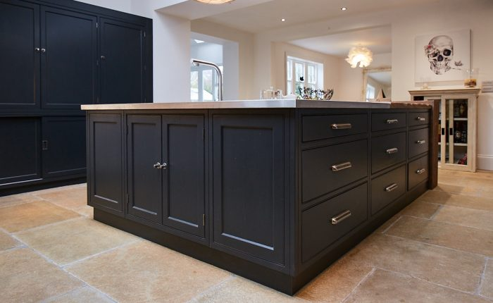 Bespoke kitchen island painted in Little Greene Lamp Black with stainless steel worktop