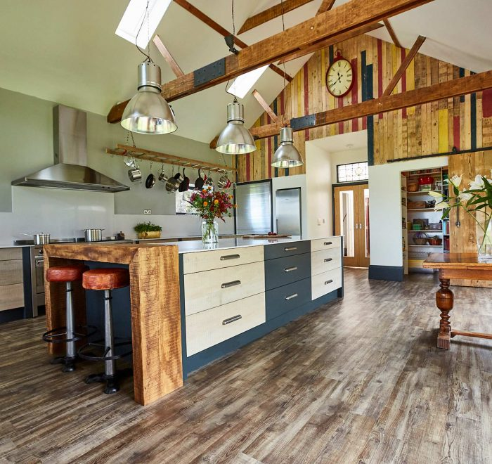 Bespoke kitchen in large vaulted ceiling room with painted and reclaimed wood drawers