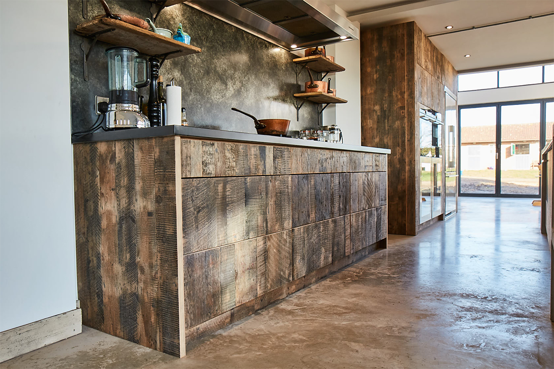 Reclaimed engineered pine wood drawers with zinc bespoke kitchen worktop