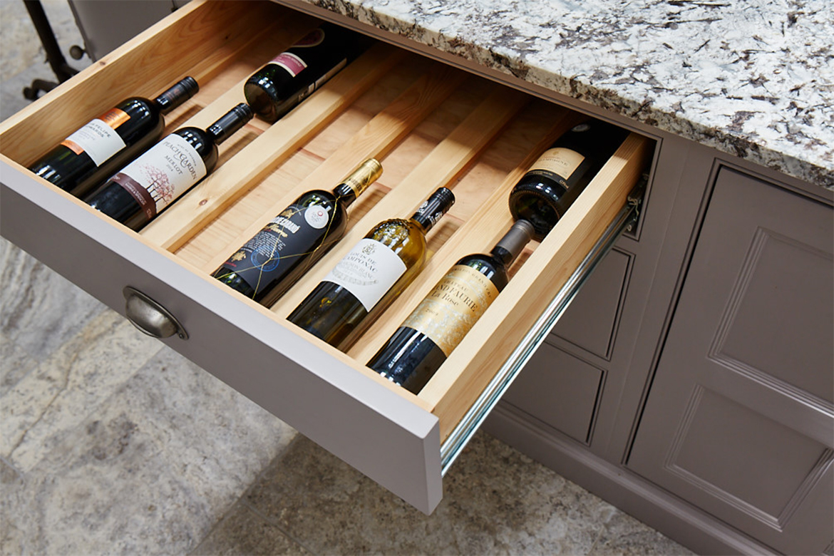 Solid oak drawer box with bespoke wine insert