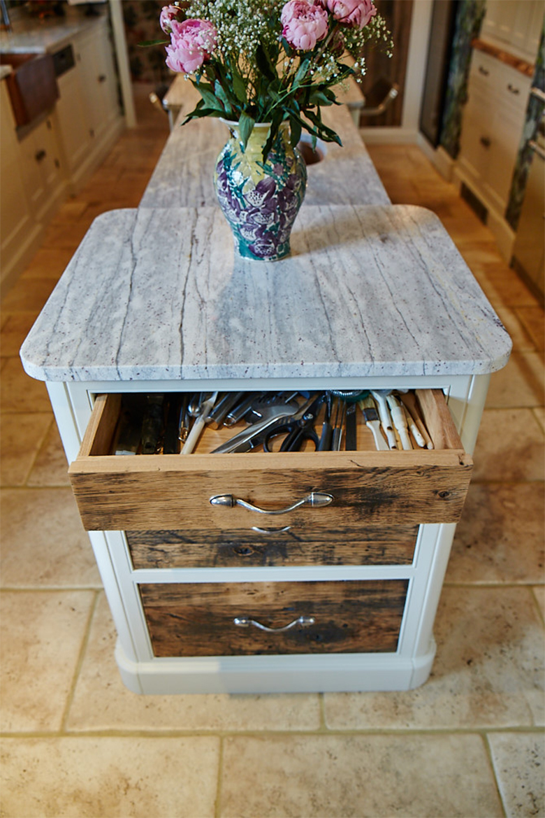 Bespoke kitchen island reclaimed oak drawer open with utensils inside