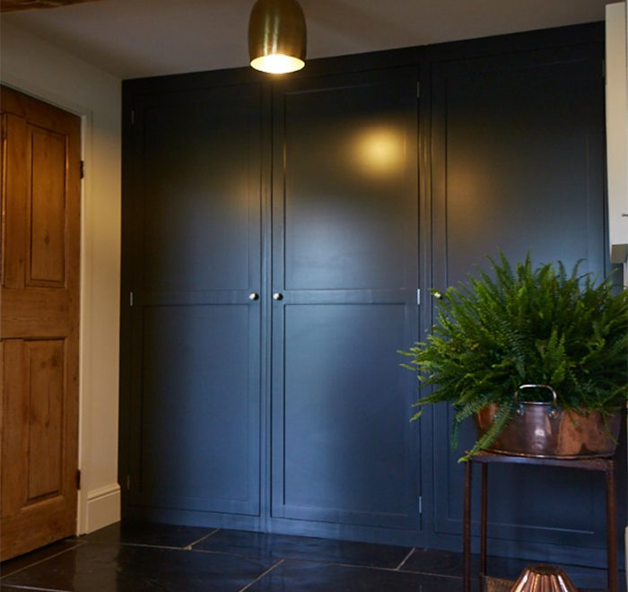Full height lamp black bespoke pantry cabinets in shaker english style