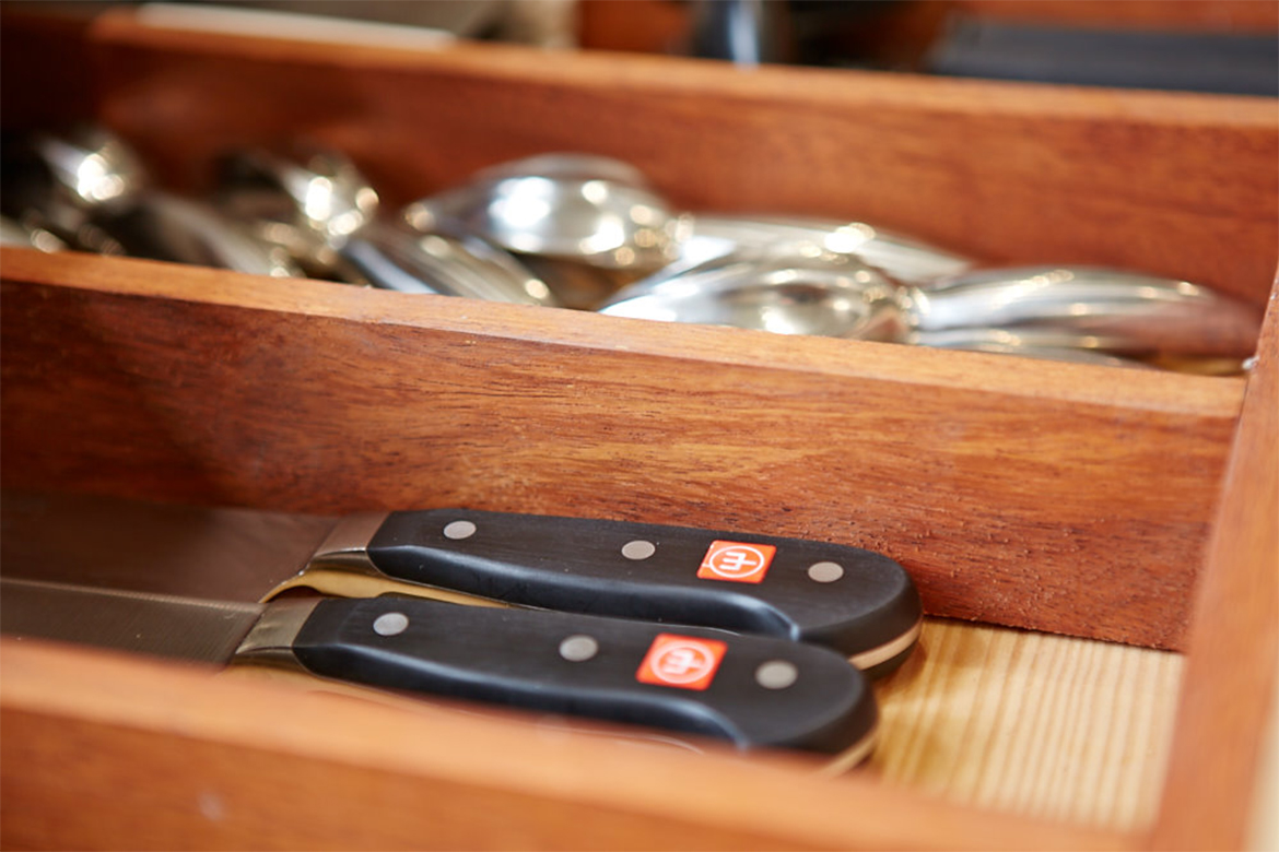 Reclaimed teak drawer insert divides knives