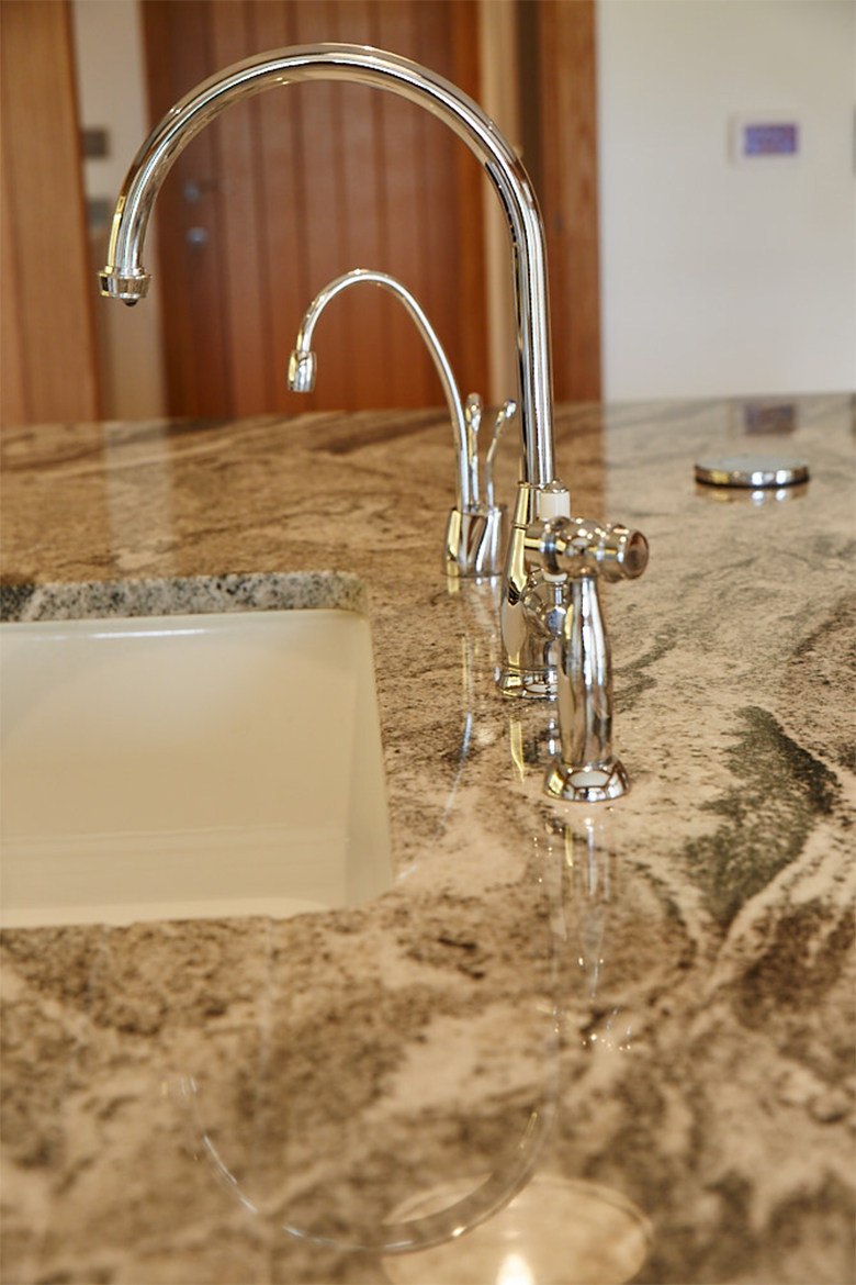 Chrome tap, spray and hot water tap