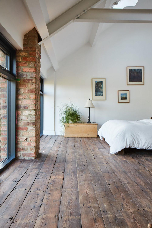 Solid reclaimed pine floor boards