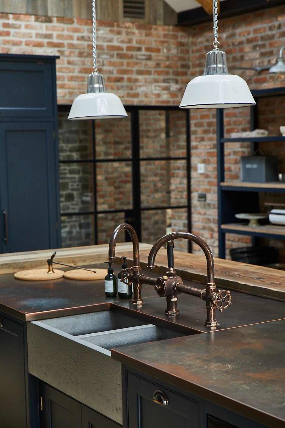 Cornwall aged-copper worktop and Waterworks tap