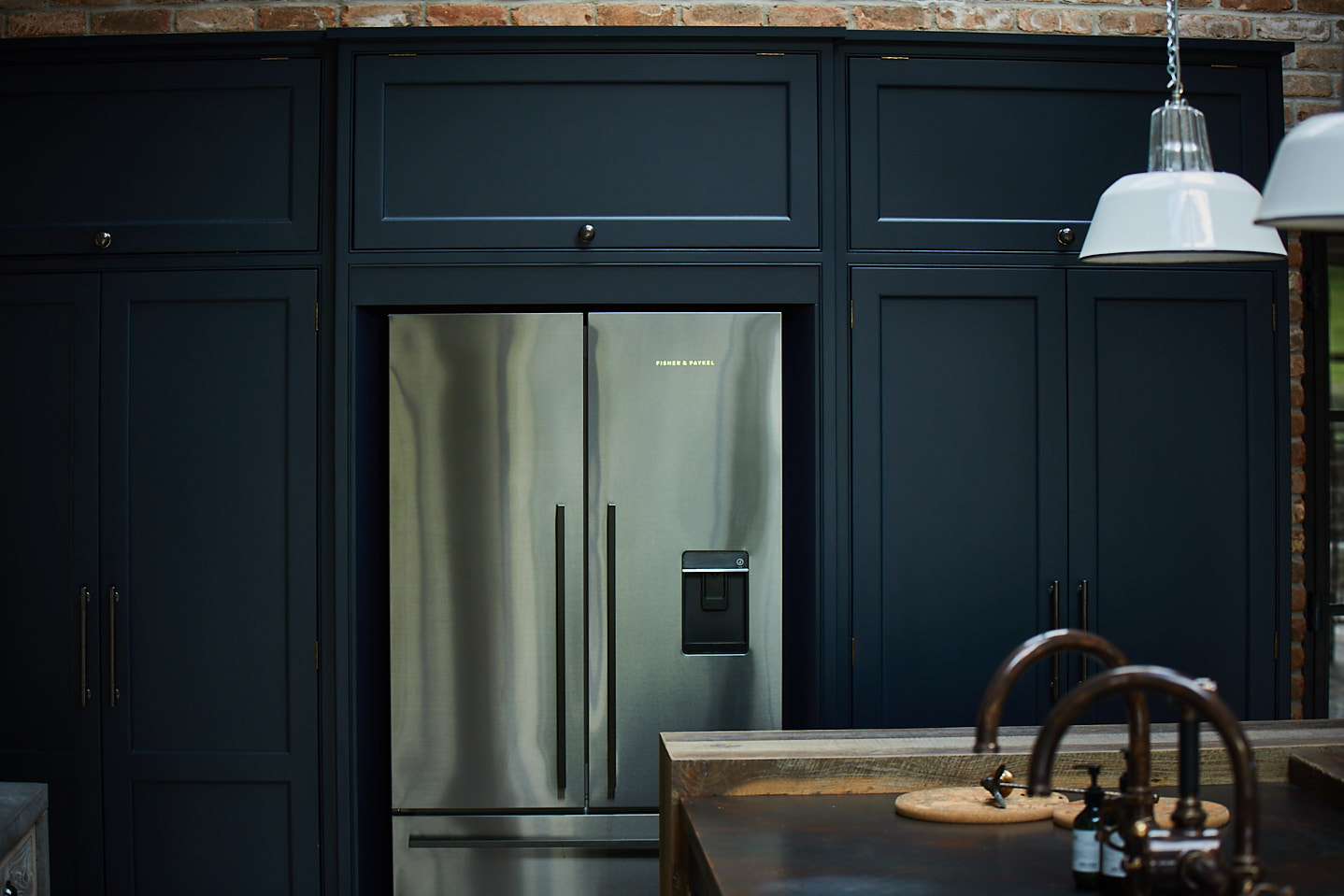 The Main Company Cornwall kitchen - Basalt Blue paint with aged copper worktops