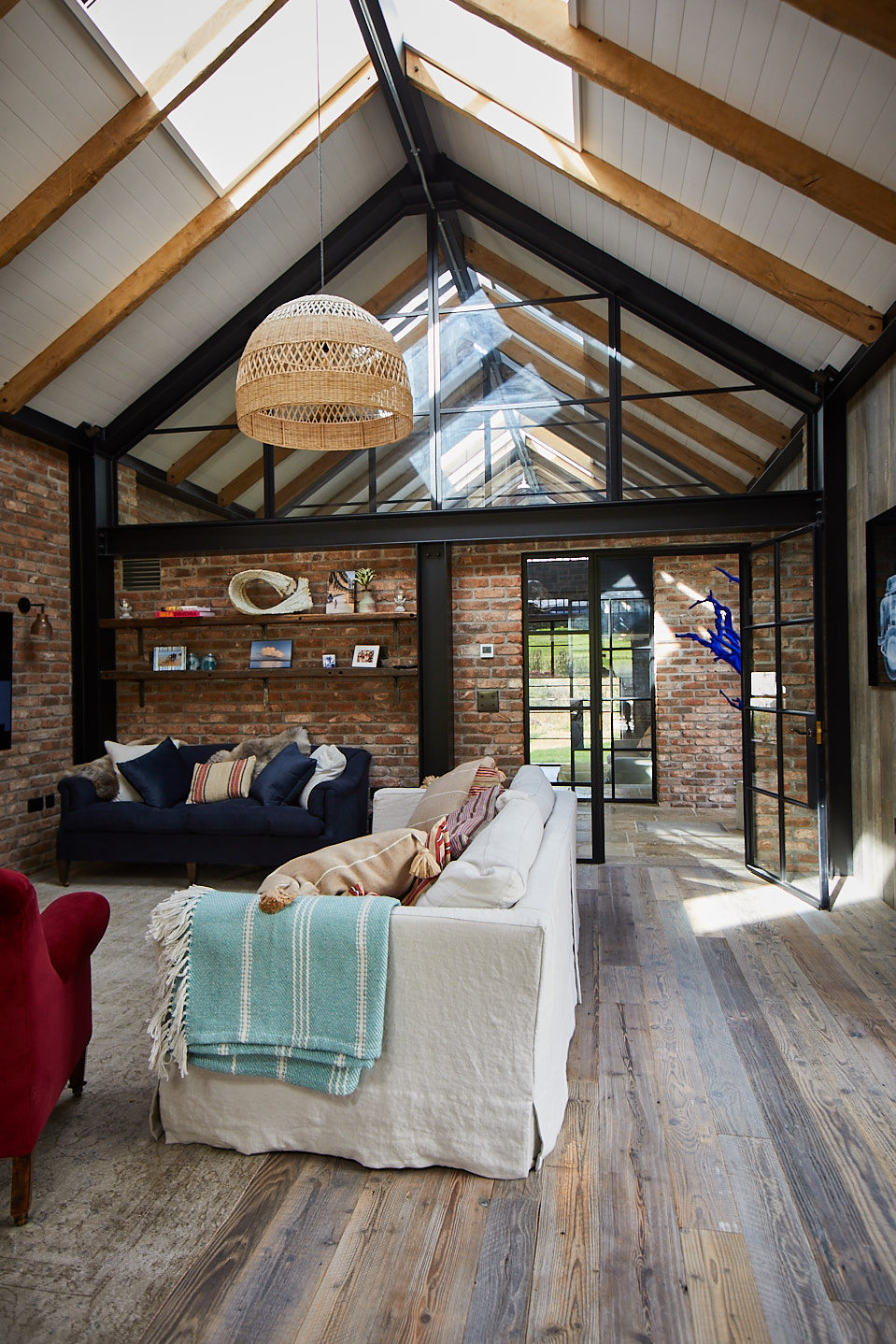 The Cornwall project living area with The Main Company reclaimed wooden flooring