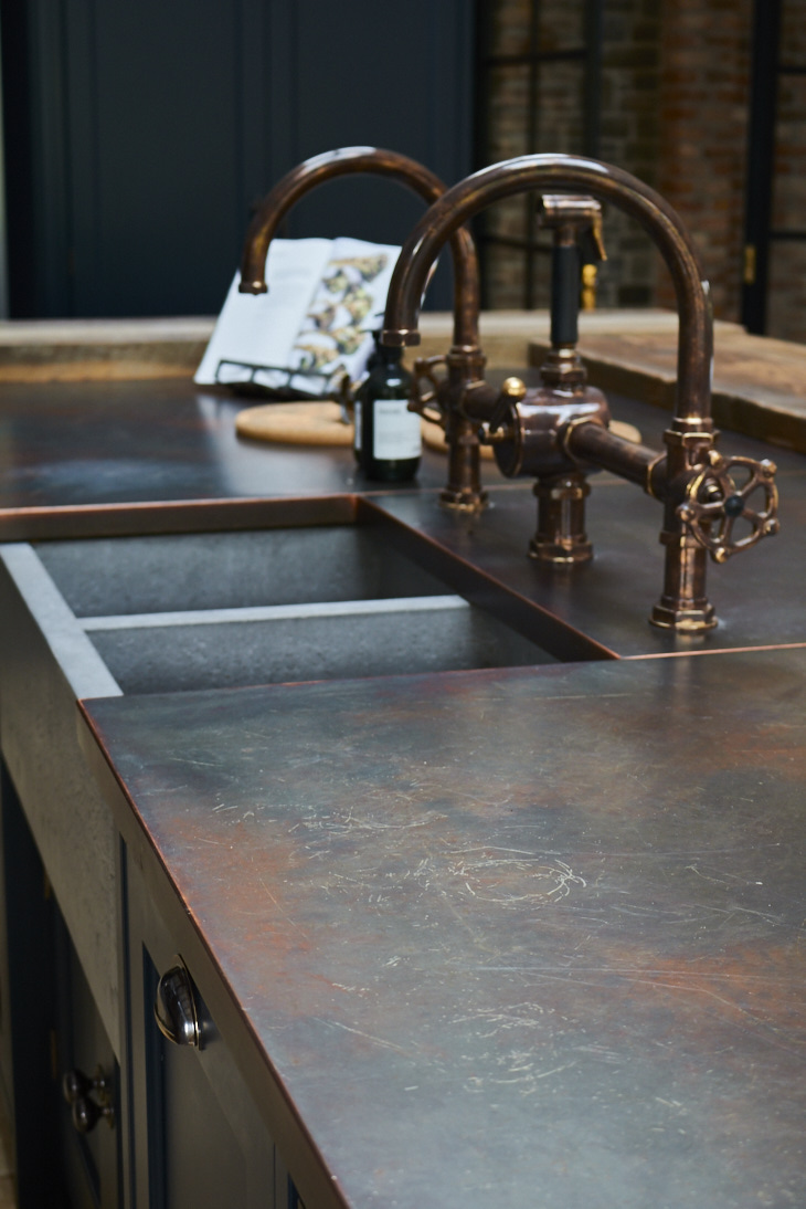 Cornwall aged-copper worktop