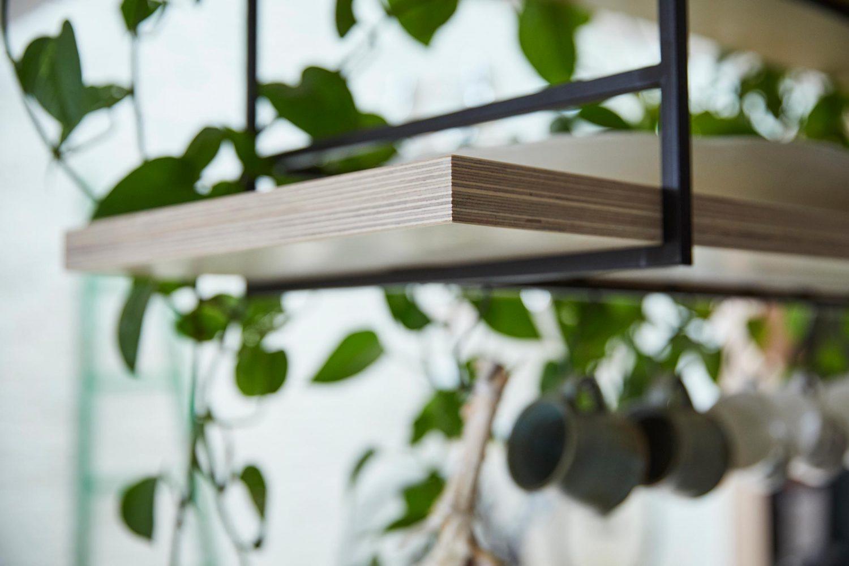 Plants sat on birch plywood shelf floating with black metal frame