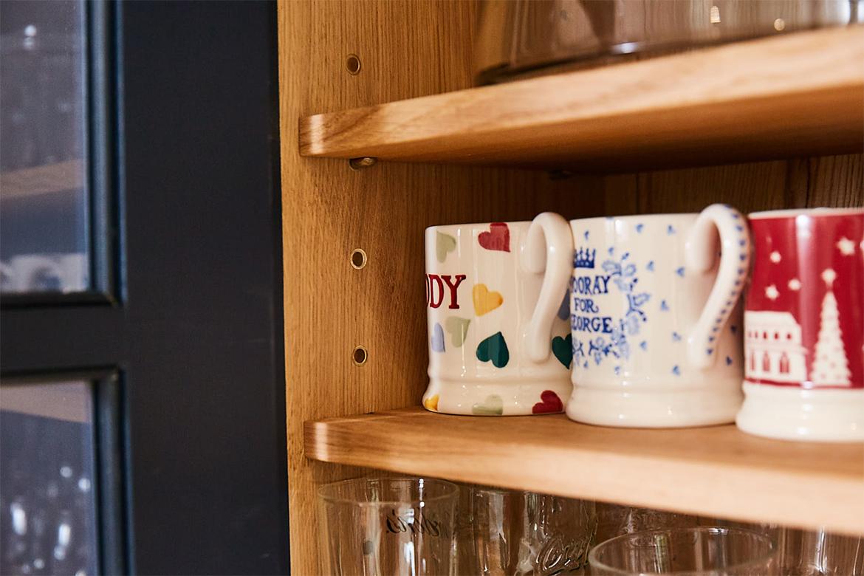 Solid oak wall unit with Emma Bridgewater mugs