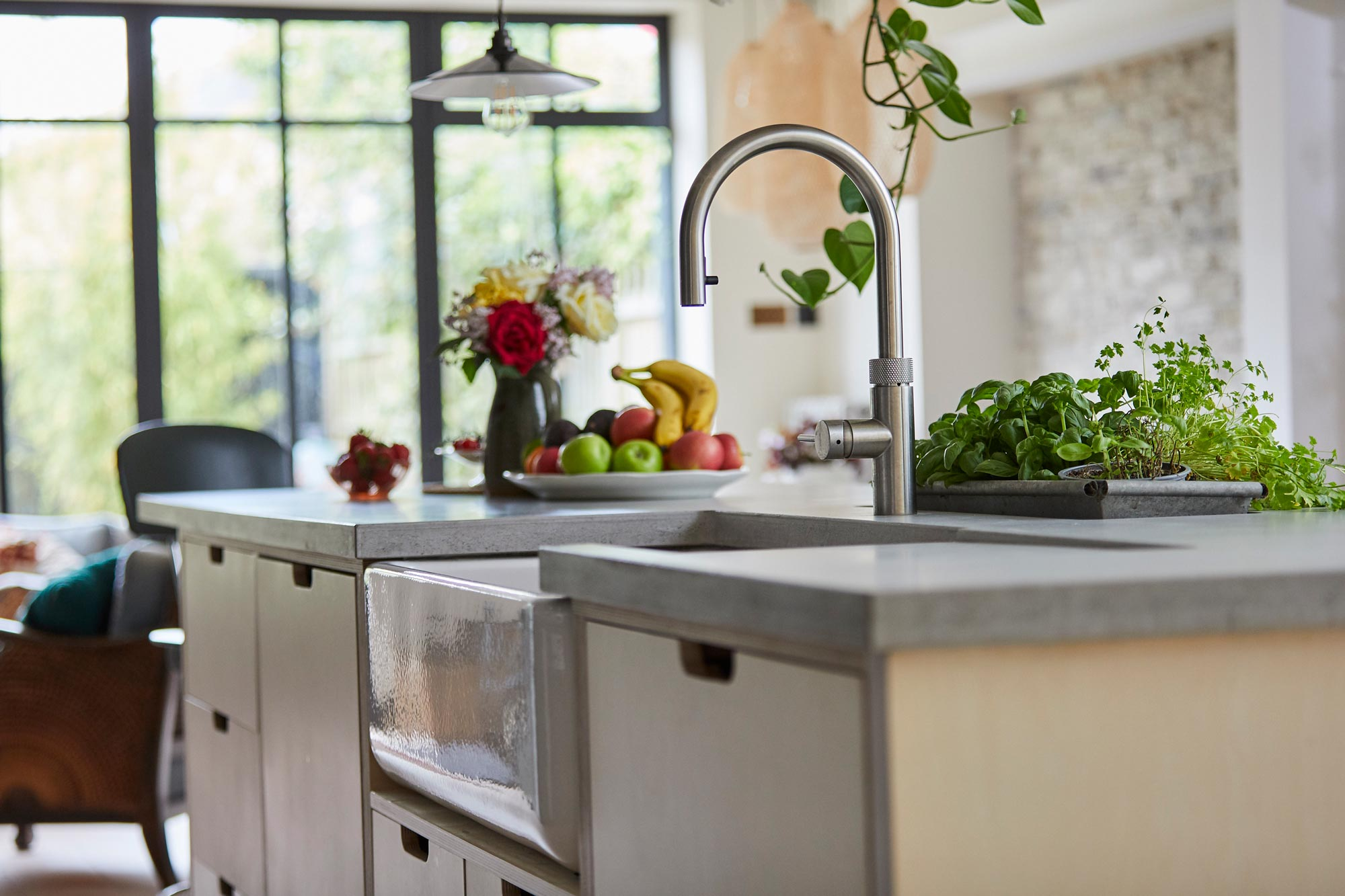 Ceramic Belfast double sink in bespoke plywood kitchen island