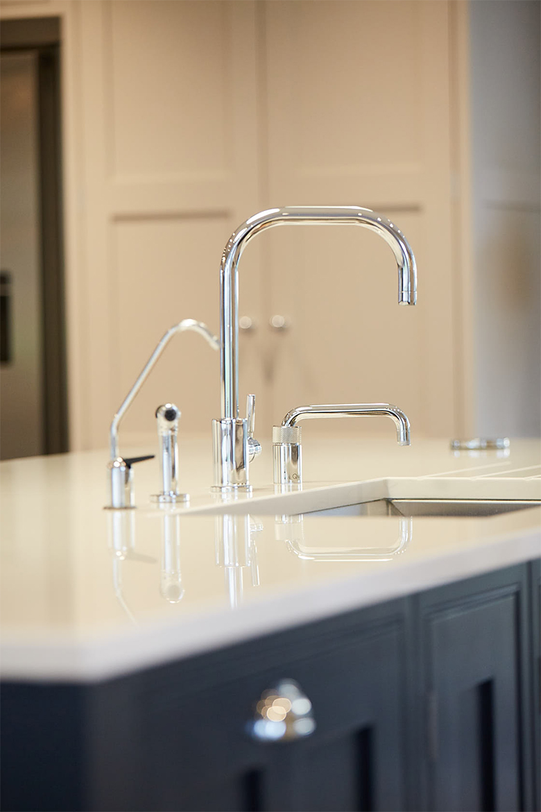 Spray, Quooker boiling water, and mixer taps all finished in chrome